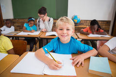 Cute pupils writing at desk in classroom Royalty Free Stock Photo