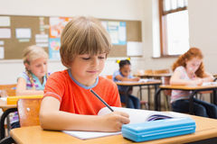 Cute pupils writing at desk in classroom Stock Images