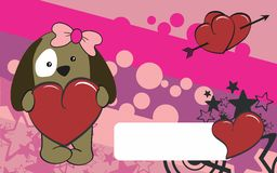 Cute puppie girl cartoon valentine backgorund Royalty Free Stock Photography