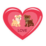 Cute puppies inside the heart Stock Photos