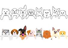 Cute puppies and kitties border set. With colors and without colors, monochrome line art vector illustration