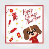 Cute puppy boy is playing firecrackers on red frame  cartoon illustration for Chinese New Year card design. Postcard, and wallpaper Royalty Free Stock Photos