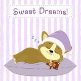 Cute puppy Corgi, in a pink hat, sleeps on a pillow and keeps a bear, on a striped background. Cartoon style, flat, vector Royalty Free Stock Images