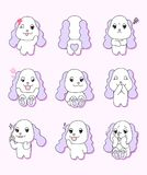 Cute puppy with 9 different gestures royalty free illustration