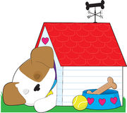 Cute Puppy Dog House Royalty Free Stock Photo
