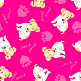 Cute puppy dog with paw hearts seamless pattern Stock Photos