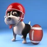 Cute puppy dog wearing American football helmet and looking at ball, 3d illustration. Render vector illustration