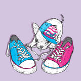 Cute puppy playing with sneakers. Vector illustration for a card or poster. Print on clothes. Royalty Free Stock Photo