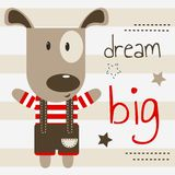 Cute puppy on a postcard with the inscription `dream big`. Vector design, children`s illustration. Cute puppy on a postcard with the inscription `dream big` royalty free illustration