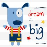 Cute puppy on a postcard with the inscription `dream big`. Vector design, children`s illustration. Cute puppy on a postcard with the inscription `dream big` stock illustration