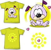 Cute puppy printed on shirt. On white background Stock Image