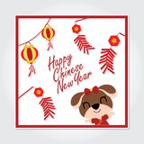 Cute puppy with red lantern and firecrackers vector cartoon illustration for Chinese New Year card design. Postcard, and wallpaper Royalty Free Stock Images