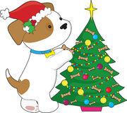 Cute Puppy with Santa Hat and Tree Stock Images