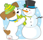 Cute Puppy and Snowman Royalty Free Stock Photo