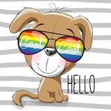 Cute Puppy with sun glasses. Cool Cartoon Cute Puppyl with sun glasses Stock Images