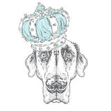 Cute puppy wearing a crown. Vector illustration for greeting card, poster, or print on clothes. Dog clothing. Stock Photography