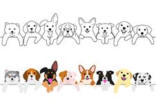 Cute pups border set. Monochrome line art and with colors royalty free illustration
