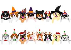 Cute pups border set, with Halloween costumes and with Christmas costumes.  royalty free illustration