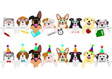 Cute pups border set, party and school. Cute pups border set, with school items and with party hats and ties vector illustration