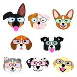 Cute pups face with eyeglasses set set. Cute pups face with eyeglasses set, eight breeds puppies in one group royalty free illustration