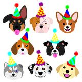 Cute pups face with party hat set set. Cute pups face with party hat set, eight breeds puppies in one group stock illustration