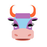 Cute purple cow with big eyelashes. Farm animal with orange horn Stock Images