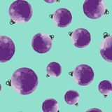 Cute purple decorative watercolor Christmas balls seamless pattern. Stock Photo
