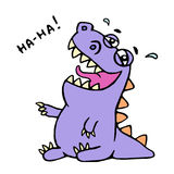 Cute purple dragon funny laughs. Vector illustration. Royalty Free Stock Photos