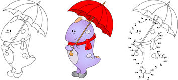 Cute purple dragon playing with umbrella. Vector illustration.  Stock Photo