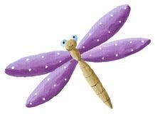 Cute purple Dragonfly. Acrylic illustration of cute purple Dragonfly Stock Image