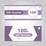 Cute purple gift voucher template layout design set, certificate discount coupon pattern for shopping. Vector Royalty Free Stock Photo