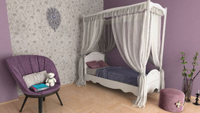 Cute purple girl`s room Royalty Free Stock Photos