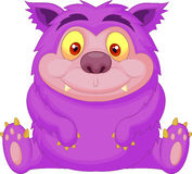 Cute purple monster cartoon Stock Photography