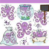 Cute purple octopus set digital elements. Scalable vectorial representing a cute purple octopus set digital elements Royalty Free Stock Photography