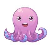 Cute purple smiling octopus Stock Photos