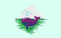 Cute purple whale Stock Image