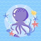 Cute putple octopus with seasters and shells Royalty Free Stock Photos
