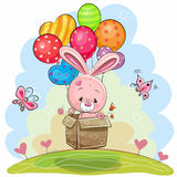 Cute Rabbit with balloons. Cute Rabbit in the box is flying on balloons Royalty Free Stock Photography