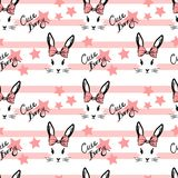Cute rabbit with bow face pattern. In red colors on stripes Royalty Free Stock Image