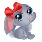 Cute rabbit with bow. Cute little rabbit with a bow in a cartoon, childish style Royalty Free Stock Photos