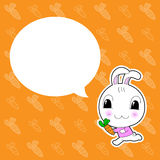Cute Rabbit with Bubble on Orange Background Royalty Free Stock Photos