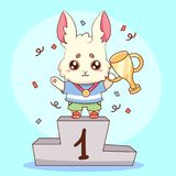 Cute rabbit bunny champion with medal and goblet first place cute animal cartoon vector illustration. For t-shirt print, kids wear. Fashion design, baby shower Royalty Free Stock Images