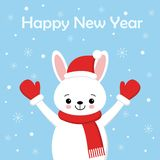 Cute rabbit card. Santa Claus hat on bunny vector illustration. New Year square banner with smiling bunny. Winter holiday package royalty free illustration