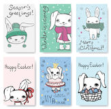 Cute Rabbit Cards. Royalty Free Stock Photos