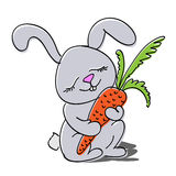 Cute rabbit with carrot. Stock Photo