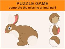 Cute rabbit cartoon. Complete the puzzle and find the missing parts of the picture. Illustration of Cute rabbit cartoon. Complete the puzzle and find the missing Stock Image