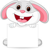 Cute rabbit cartoon with sign Royalty Free Stock Images