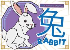 Cute Rabbit in Cartoon Style for Chinese Zodiac, Vector Illustration. Poster with a white tender rabbit for Chinese Zodiac -written in Chinese calligraphy- with stock illustration