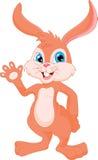 Cute rabbit cartoon waving Stock Photography