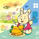 Cute rabbit on cheerful breakfast Stock Images